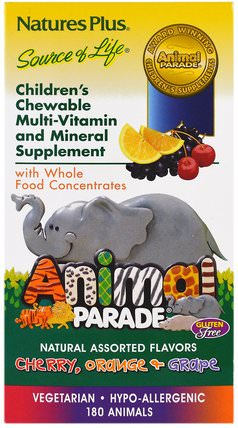 Animal Parade, Childrens Chewable Multi-Vitamin & Mineral, Assorted Flavors, 180 Animals by Natures Plus, 維生素,兒童多種維生素 HK 香港