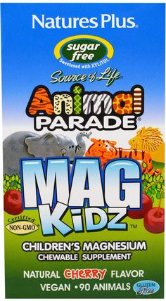 Animal Parade, MagKidz, Childrens Magnesium, Natural Cherry Flavor, 90 Animals by Natures Plus, 補品,礦物質,鎂,兒童健康 HK 香港