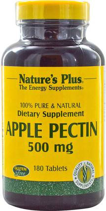 Apple Pectin, 500 mg, 180 Tablets by Natures Plus, 補充劑,酶,纖維,蘋果果膠 HK 香港