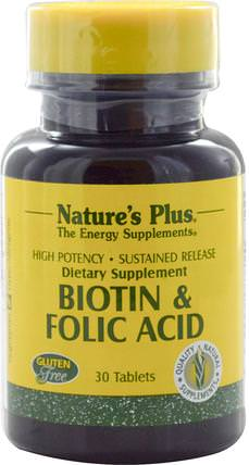 Biotin & Folic Acid, 30 Tablets by Natures Plus, 維生素,維生素B,生物素 HK 香港