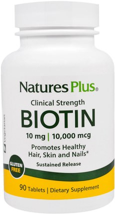 Biotin, Sustained Release, 90 Tablets by Natures Plus, 維生素,維生素B,生物素,健康,女性,皮膚 HK 香港