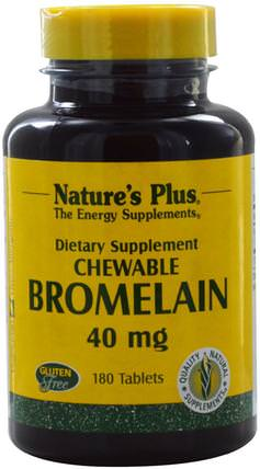 Bromelain, Chewable, 40 mg, 180 Tablets by Natures Plus, 健康,女性,補品,酶,菠蘿蛋白酶 HK 香港