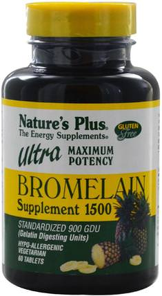 Bromelain Supplement 1500, Ultra Maximum Potency, 60 Tablets by Natures Plus, 健康,女性,補品,酶,菠蘿蛋白酶 HK 香港
