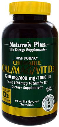 Cal/Mag/Vit D3, Vanilla Flavored, 60 Chewables by Natures Plus, 補品,礦物質,鈣,咀嚼鈣 HK 香港