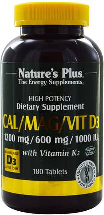 Cal/Mag/Vit D3, with Vitamin K2, 180 Tablets by Natures Plus, 補充劑,礦物質,鈣和鎂 HK 香港