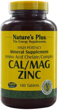 Cal/Mag Zinc, 180 Tablets by Natures Plus, 補充劑,礦物質,鈣和鎂 HK 香港