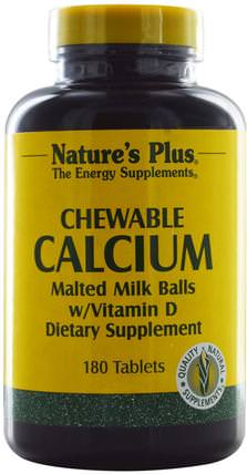 Chewable Calcium Malted Milk Balls w/ Vitamin D, 180 Tablets by Natures Plus, 補品,礦物質,鈣,咀嚼鈣 HK 香港
