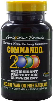 Commando 2000 Antioxidant Protection, 90 Tablets by Natures Plus, 補充劑,抗氧化劑,抗氧化劑 HK 香港