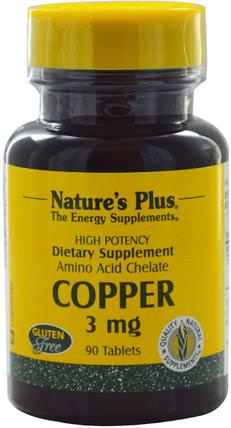 Copper, 3 mg, 90 Tablets by Natures Plus, 補品,礦物質,銅 HK 香港