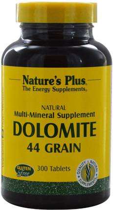 Dolomite, 44 Grain, 300 Tablets by Natures Plus, 補品,礦物質,鈣鎂,白雲石 HK 香港