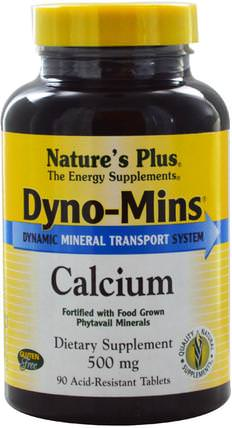 Dyno-Mins, Calcium, 500 mg, 90 Acid-Resistant Tablets by Natures Plus, 補充劑,礦物質,鈣和鎂 HK 香港