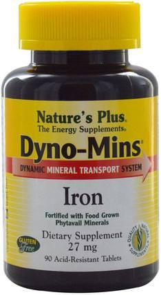 Natures Plus, Dyno-Mins, Iron, 27 mg, 90 Acid-Resistant Tablets 補品,礦物質,鐵