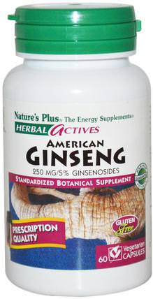 Herbal Actives, American Ginseng, 250 mg, 60 Veggie Caps by Natures Plus, 補充劑,adaptogen HK 香港