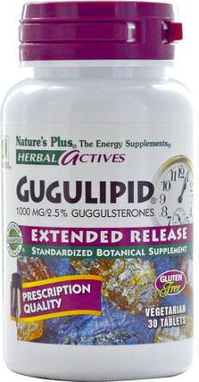 Herbal Actives, Gugulipid, Extended Release, 1000 mg, 30 Veggie Tabs by Natures Plus, 草藥,guggul(commiphora mukul) HK 香港