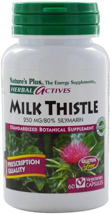 Natures Plus, Herbal Actives, Milk Thistle, 250 mg, 60 Veggie Caps 健康,排毒,奶薊(水飛薊素)