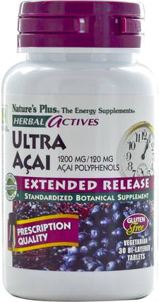Herbal Actives, Ultra Acai, Extended Release, 1200 mg, 30 Bi-Layered Tablets by Natures Plus, 補品,水果提取物,超級水果,阿薩膠囊軟膠囊 HK 香港
