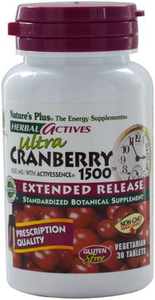 Herbal Actives, Ultra Cranberry 1500, 1500 mg, 30 Veggie Tabs by Natures Plus, 草藥,蔓越莓 HK 香港