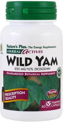 Herbal Actives, Wild Yam, 250 mg, 60 Veggie Caps by Natures Plus, 健康,女性,野生山藥 HK 香港