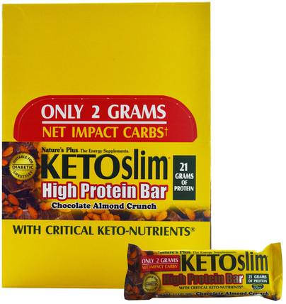 Ketoslim, High Protein Bar, Chocolate Almond Crunch, 12 Bars, 2.1 oz (60 g) Each by Natures Plus, 運動,蛋白質棒,減肥,飲食 HK 香港