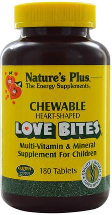 Love Bites Multi-Vitamin & Mineral, Supplement For Children, 180 Chewable Tablets by Natures Plus, 維生素,多種維生素,兒童多種維生素 HK 香港