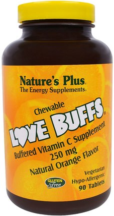 Love Buffs, Chewable Buffered Vitamin C, Natural Orange Flavor, 250 mg, 90 Tablets by Natures Plus, 維生素,維生素C,維生素C咀嚼片 HK 香港