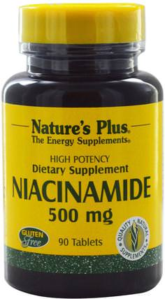 Niacinamide, 500 mg, 90 Tablets by Natures Plus, 維生素,維生素b,維生素b3,維生素b3 - 煙酰胺 HK 香港