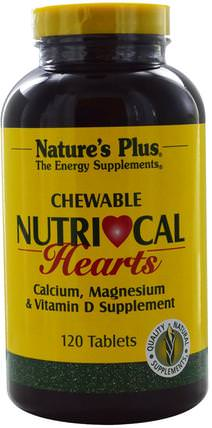 Nutri-Cal Hearts, Chewable, 120 Tablets by Natures Plus, 補充劑,礦物質,鈣和鎂 HK 香港