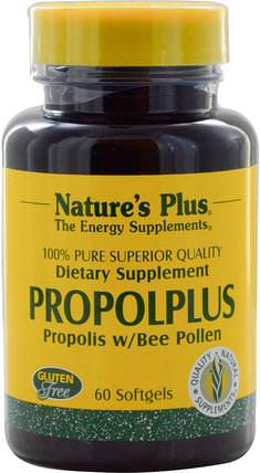 Propolplus, Propolis w/Bee Pollen, 60 Softgels by Natures Plus, 補充劑,蜂產品,蜂膠,蜂花粉 HK 香港