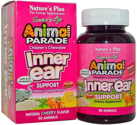 Source of Life, Animal Parade, Childrens Chewable Inner Ear Support, Natural Cherry Flavor, 90 Animals by Natures Plus, 健康,耳朵聽覺和耳鳴,耳朵和聽力產品,兒童健康,兒童補品 HK 香港