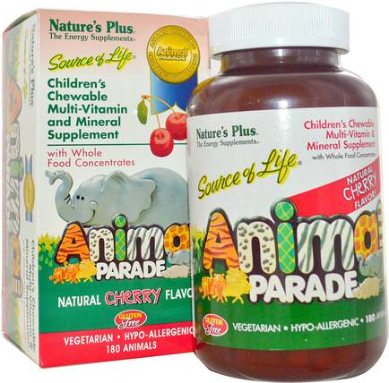 Source of Life, Animal Parade, Childrens Chewable Multi-Vitamin and Mineral Supplement, Natural Cherry Flavor, 180 Animals by Natures Plus, 維生素,多種維生素,兒童多種維生素 HK 香港