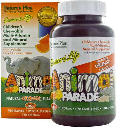 Source of Life, Animal Parade, Childrens Chewable Multi-Vitamin & Mineral Supplement, Natural Orange Flavor, 180 Animals by Natures Plus, 維生素,多種維生素,兒童多種維生素 HK 香港