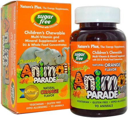 Source of Life, Animal Parade, Childrens Chewable, Sugar Free, Natural Orange Flavor, 90 Animals by Natures Plus, 維生素,多種維生素,兒童多種維生素 HK 香港