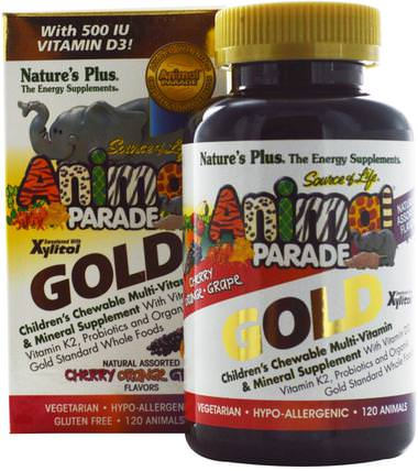 Source of Life Animal Parade Gold, Childrens Chewable Multi-Vitamin & Mineral Supplement, Natural Assorted Flavors, 120 Animals by Natures Plus, 維生素,多種維生素,兒童多種維生素 HK 香港