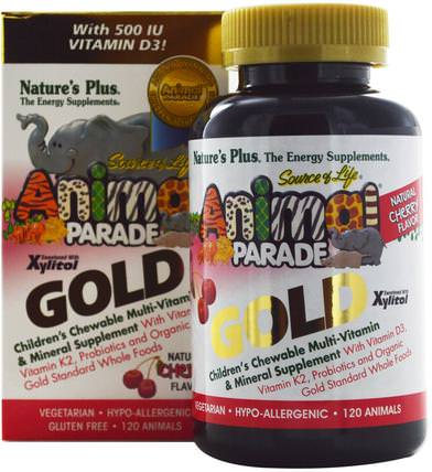 Source of Life Animal Parade Gold, Childrens Chewable Multi-Vitamin & Mineral Supplement, Natural Cherry Flavor, 120 Animals by Natures Plus, 維生素,多種維生素,兒童多種維生素 HK 香港
