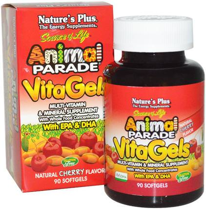 Source of Life, Animal Parade, VitaGels, Multi-Vitamin & Mineral Supplement, Natural Cherry Flavor, 90 Softgels by Natures Plus, 維生素,多種維生素,兒童多種維生素 HK 香港