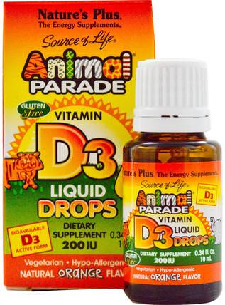 Source of Life, Animal Parade, Vitamin D3, Liquid Drops, Natural Orange Flavor, 200 IU, 0.34 fl oz (10 ml) by Natures Plus, 維生素,維生素A和d,補充兒童 HK 香港