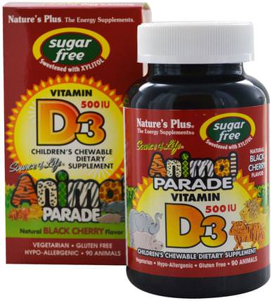 Source of Life, Animal Parade, Vitamin D3, Sugar Free, Natural Black Cherry Flavor, 500 IU, 90 Animals by Natures Plus, 維生素,維生素D3,維生素a和d HK 香港