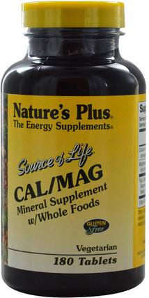 Source of Life, Cal/Mag, 180 Tablets by Natures Plus, 補充劑,礦物質,鈣和鎂 HK 香港