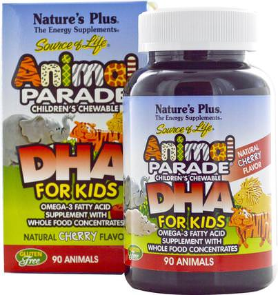 Source of Life, DHA for Kids, Animal Parade, Childrens Chewable, Natural Cherry Flavor, 90 Animals by Natures Plus, 補充劑,efa omega 3 6 9(epa dha),dha chewable,兒童健康,兒童補品 HK 香港