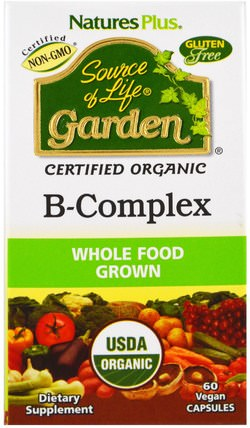 Source of Life Garden, Organic B-Complex, 60 Veggie Caps by Natures Plus, 維生素,維生素b HK 香港