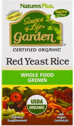 Source of Life Garden, Organic Red Yeast Rice, 60 Veggie Caps by Natures Plus, 健康,膽固醇支持,紅曲米 HK 香港