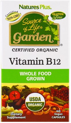Source of Life Garden, Organic Vitamin B12, 60 Veggie Caps by Natures Plus, 維生素,維生素b,維生素b12 HK 香港