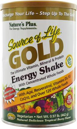 Natures Plus, Source of Life Gold, Energy Shake, Tropical Berry Flavor.97 lb (442 g) 健康,能量飲料混合