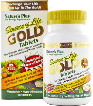 Source of Life Gold, The Ultimate Multi-Vitamin Supplement, 90 Tablets by Natures Plus, 維生素,多種維生素 HK 香港