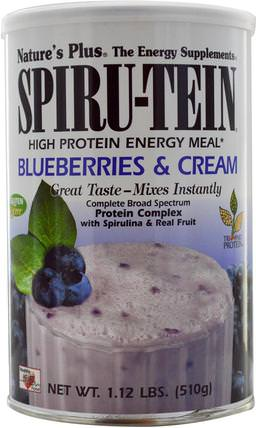 Natures Plus, Spiru-Tein, High Protein Energy Meal, Blueberries & Cream, 1.12 lbs (510 g) 補充劑,蛋白質