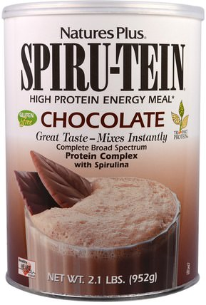 Spiru-Tein, High Protein Energy Meal, Chocolate, 2.1 lbs. (952 g) by Natures Plus, 補充劑,蛋白質 HK 香港