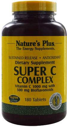 Super C Complex, Vitamin C 1000 mg with 500 mg Bioflavonoids, 180 Tablets by Natures Plus, 維生素,維生素C複合物 HK 香港