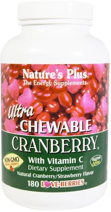 Ultra Chewable Cranberry with Vitamin C, Natural Cranberry/Strawberry Flavor, 180 Love-Berries by Natures Plus, 草藥,蔓越莓 HK 香港