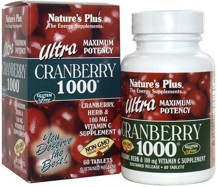 Ultra Cranberry 1000, 60 Tablets by Natures Plus, 草藥,蔓越莓 HK 香港