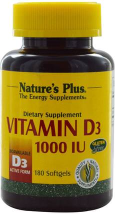 Vitamin D3, 1000 IU, 180 Softgels by Natures Plus, 維生素,維生素A和維生素D3 HK 香港